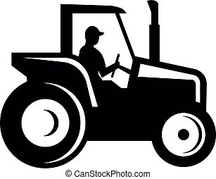 Vintage Farm Tractor Side View Silhouette Black and White