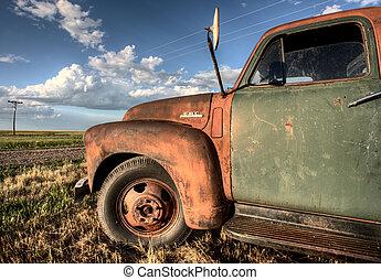 Vintage Farm Trucks Saskatchewan Canada weathered and old