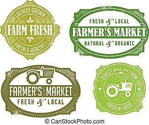 Vintage distressed farmers market graphics.