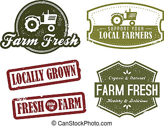 Fresh from the farm and farmers market stamps.