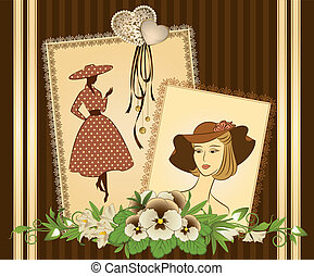 background with flowers and girls.