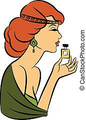 Vintage fashion girl with perfume.