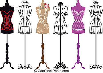 set of vintage fashion dress forms, vector illustration