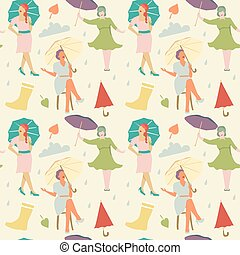 Vintage Fashion Seamless Pattern. Faceless Women with Umbrella Background. Vector illustration