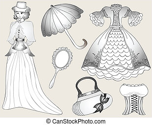 Vintage fashion set. vector
