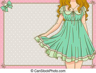 vintage design with girl wearing summer dress