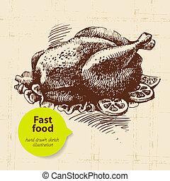 Vintage fast food background. Hand drawn illustration. Menu...
