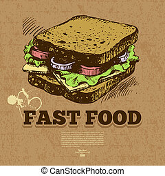 Vintage fast food background. Hand drawn illustration. Menu...
