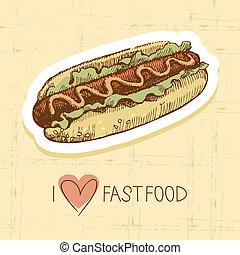 Vintage fast food background. Hand drawn illustration. Menu design