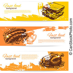 Vintage fast food banners. Background with hand drawn...