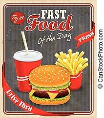 Vintage fast food poster design wit