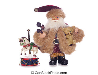 Vintage father christmas with old toys cutout