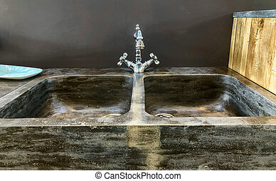 Vintage faucet in a retro kitchecn