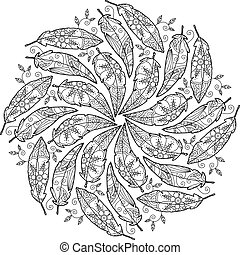 Vintage feather Mandala.