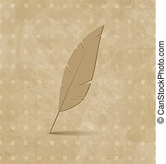 Vintage feather on grunge background