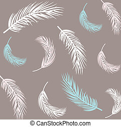 Vintage Feather seamless background. Hand drawn illustration.
