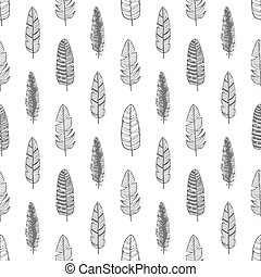 Vintage Feather seamless background. Hand drawn illustration pattern