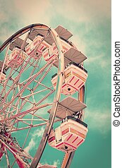 Vintage Ferris Wheel - Vintage ferris wheel with old film...
