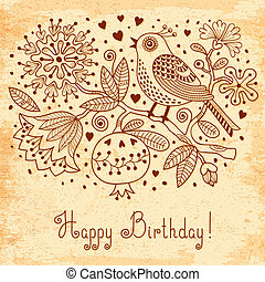 Vintage Festive card with flowers and birds. Vector...