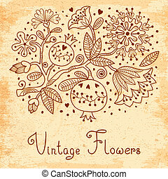 Vintage Festive card with flowers and pomegranate. Vector...
