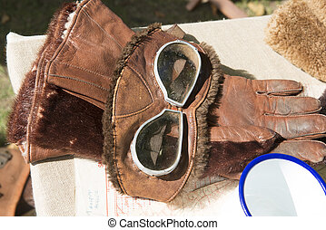 Vintage Fighter Pilot Gloves and Protective Face Mask