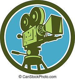 Illustration of a vintage movie film motion-picture camera viewed from low angle set inside circle on isolated background done in retro style.