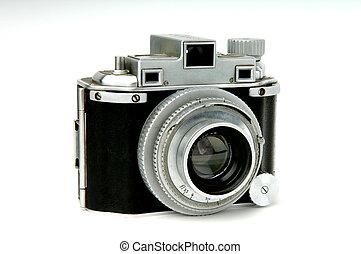 Vintage film camera - Image of a vintage roll film camera on...