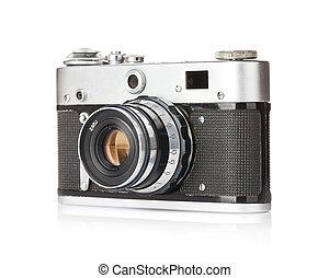 Vintage film camera. Isolated on white background