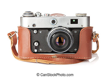 Vintage film camera with leather case. Isolated on white ...