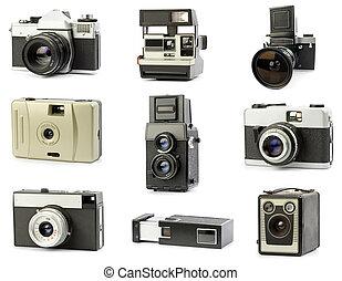 film camera - vintage film cameras set, isolated