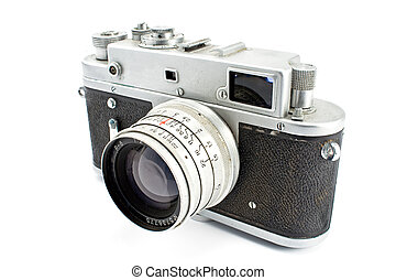 Vintage film photo camera isolated on white