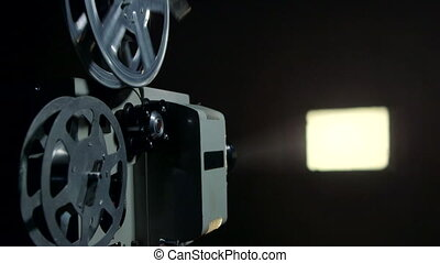 Vintage film projector and end of movie