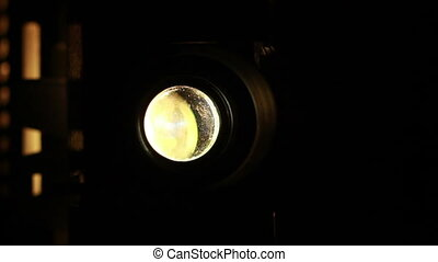Vintage film projector showing film, multuple macro shots.