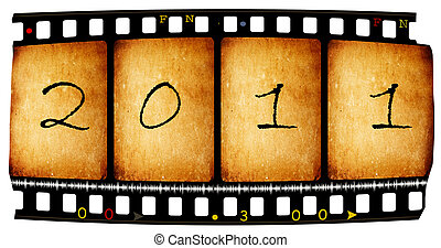 Vintage film with 2011 new year