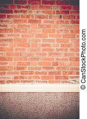 Vintage filter, orange brick wall of house texture background