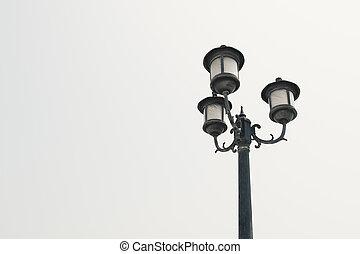 Vintage filter : vintage light post in Black and white...