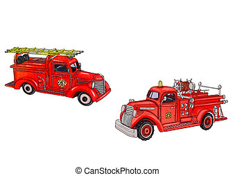 Vintage fire truck in two versions. Illustration on white background.