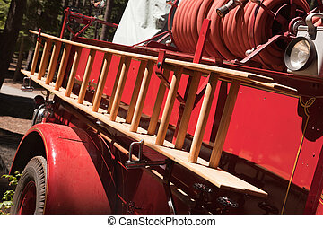Vintage Fire Truck with Latter and Hose