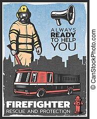 Vintage Firefighting Colorful Poster - Vintage firefighting...