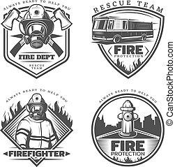 Vintage Firefighting Emblems Set - Vintage firefighting...