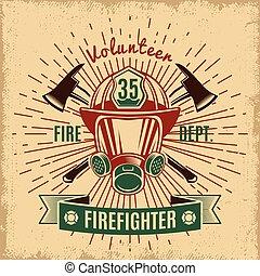 Vintage Firefighting Label