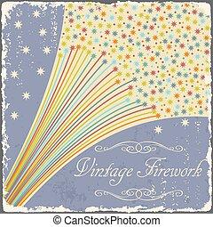 Vintage fireworks poster design. Retro flyer