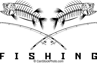 vintage fishing emblem with skeleton of bass