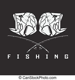 vintage fishing emblem with skull of bass