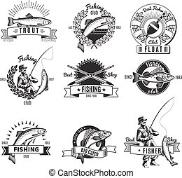 Vintage Fishing Labels Set - Set of nine isolated monochrome...