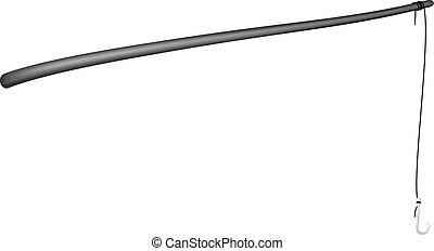 Vintage fishing rod in black design