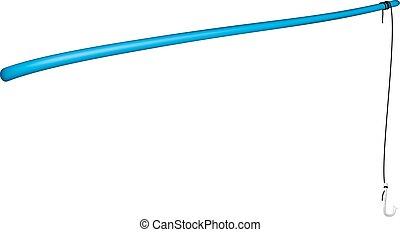 Vintage fishing rod in blue design