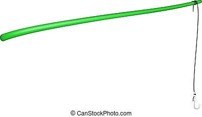 Vintage fishing rod in green design