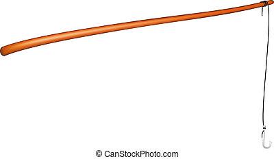 Vintage fishing rod with fishing hook on white background