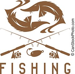 vintage fishing vector design template with sturgeon